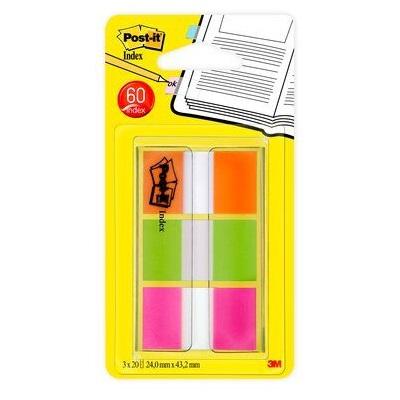 Post-it® Index 680-OLP, 25,4 x 43,2 mm, orange, limonengrün, pink, 3 x 20 Haftstreifen