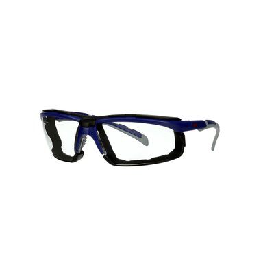 3M™ Solus™ 2000 Schutzbrille, blau/graue Bügel, Schaumrahmen, Scotchgard™ Anti-Beschlag Beschichtung (K&N), klare Scheibe, winkelverstellbar, S2001SGAF-BGR-F-EU