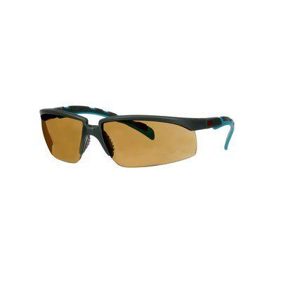 3M™ Solus™ 2000 Schutzbrille, grau/türkisfarbene Bügel, Scotchgard™ Anti-Beschlag Beschichtung (K&N), braune Scheibe, winkelverstellbar, S2005SGAF-BGR-EU