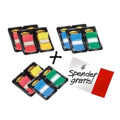 Post-it® Index  680-P12, 25,4 x 43,2 mm, blau, gelb, grün, rot, 8 x 50 Haftstreifen im Spender