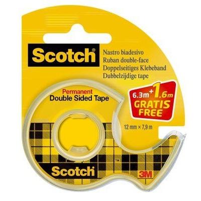 Scotch® doppelseitiges Klebeband Promotion 665DP, 1 Rolle im Einweg-Handabroller, transparent, 12 mm x 6,3 m, plus 25% gratis