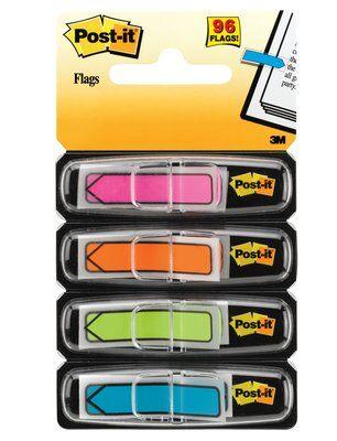 Post-it® Index Pfeile 684ARR4, 11,9 x 43,2 mm, aquablau, limonengrün, orange, pink, 4 x 24 Haftstreifen im Spender
