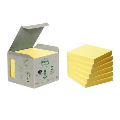 Post-it® Recycling Notes 6541B, 76 x 76 mm, gelb, 6 Blöcke à 100 Blatt