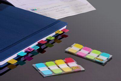 Post-it® Index Strong 676-ALYR, 4 x 10 Haftstreifen im Etui, türkis, grün, gelb, rot, 16 x 38 mm
