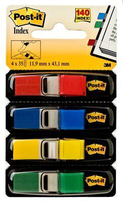 Post-it® Index Mini 683-4, 11,9 x 43,2 mm, blau, gelb, grün, rot, 4 x 35 Haftstreifen im Spender