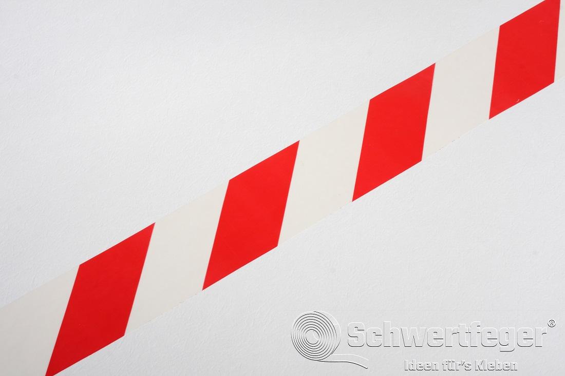 SPADA® PVC Gefahrenmarkierungsband rot / weiss 60 mm x 66 m