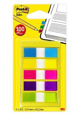 Post-it® Index Mini 6835CBEU, 11,9 x 43,2 mm, gelb, lila, limonengrün, pink, türkis, 5 x 20 Haftstreifen