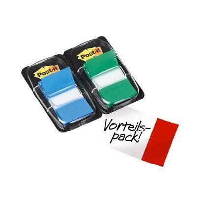 Post-it® Index  I680-GB2, 25,4 x 43,2 mm, blau, grün, 2 x 50 Haftstreifen im Spender