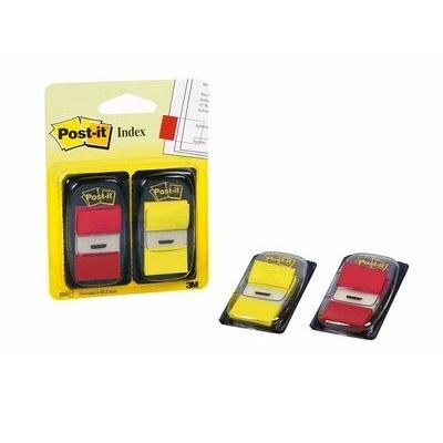 Post-it® Index  I680-RY2, 25,4 x 43,2 mm, gelb, rot, 2 x 50 Haftstreifen im Spender