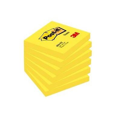 Post-it® Notes 654NGE, 76 x 76 mm, neongelb, 1 Block à 100 Blatt