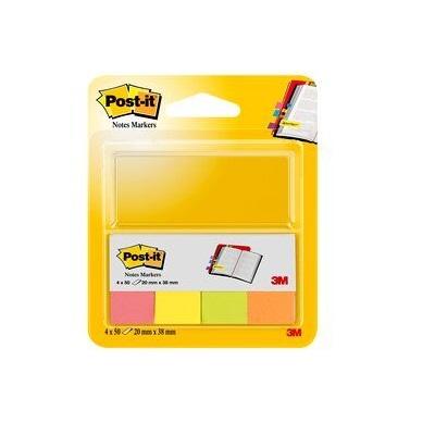 Post-it® Page Marker 670-4N, 20 x 38 mm, neongelb, neongrün, neonorange, neonpink, 4 x 50 Blatt