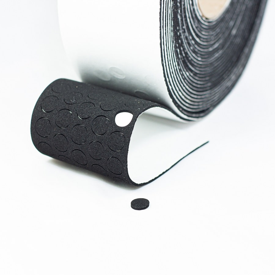 EPDM-Zellkautschuk Ronden N 1756 schwarz 1,5 mm stark klebend Durchmesser 10 mm 5.000 Stück