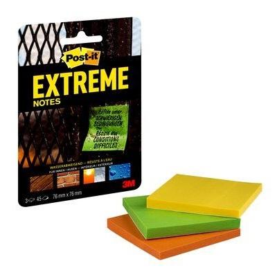 Post-it® Extreme Notes, Grün, Orange, Gelb, 2 Clip-Strips à 12 Packungen, Pack à 3 Blöcke, 76 mm x 76 mm