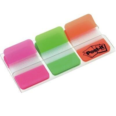 Post-it® Index Strong 686-PGO, 25,4 x 38 mm, grün, orange, pink, 3 x 22 Haftstreifen