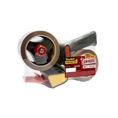 Scotch® Handabroller für Verpackungsklebeband + 2 Rollen Scotch® Verpackungsklebeband - Geräuscharm braun 50 mm x 66 m