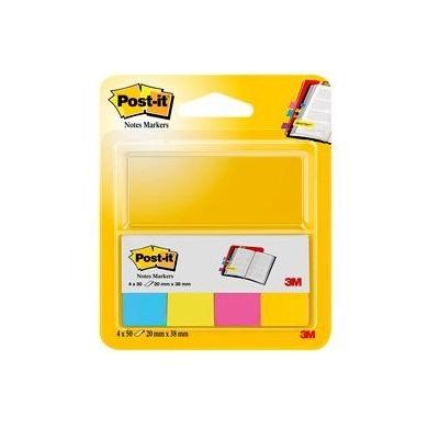 Post-it® Page Marker 670-4U, 20 x 38 mm, ultrablau, ultragelb, ultragrün, ultrapink, 4 x 50 Blatt