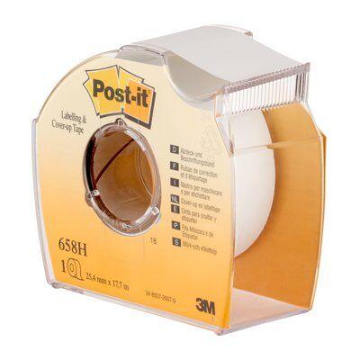 Post-it® Abdeck- und Beschriftungsband 658H, 25,4 mm x 17,7 m, weiß, 1 Rolle im Handspender