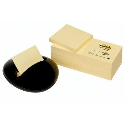 Post-it® Z-Notes Spender  PBL-B12Y, 128 x 45 x 135 mm, gelb, schwarz, 1 Z-Notes Spender inkl. 12 Blöcke Z-Notes à 100 Blatt