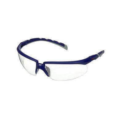 3M™ Solus™ 2000 Schutzbrille, blau/graue Bügel, beschlagfest/kratzfest, klare Scheibe, winkelverstellbar, S2001AF-BLU-EU