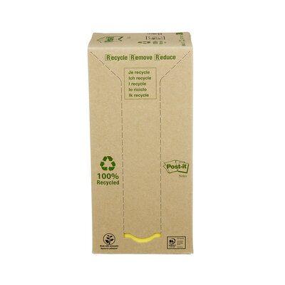 Post-it® Recycling Notes 654-1T, 76 x 76 mm, gelb, 16 Blöcke à 100 Blatt