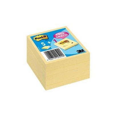 Post-it® Notes  654Y6, 76 x 76 mm, gelb, 6 Blöcke à 100 Blatt