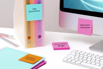 Post-it® Super Sticky Notes  654SE9+3, 76 x 76 mm, neonorange, ultrablau, ultrapink, 12 Blöcke à 90 Blatt