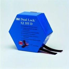 3M™ Dual Lock™ SJ355D, Schwarz, 2 x 25 mm x 5 m, 5.7 mm, 40 Köpfe/cm2, Spendebox