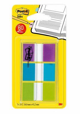 Post-it® Index 680PBGEU, 25,4 x 43,2 mm, blau, grün, lila, 3 x 20 Haftstreifen
