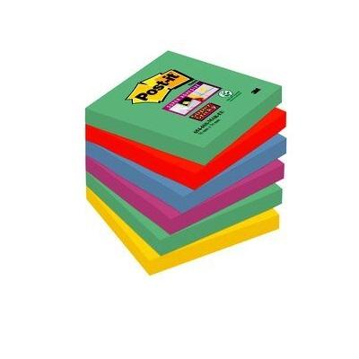 Post-it® Super Sticky Notes 6546SM, 76 x 76 mm, hellblau, 6 Blöcke à 90 Blatt