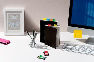 Post-it® Index  680P10+2, 25,4 x 43,2 mm, blau, gelb, grün, rot, 12 x 50 Haftstreifen im Spender