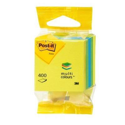 Post-it® Mini Würfel 2012L, 51 x 51 mm, blau, limonengrün, zitronengelb, 1 Würfel à 400 Blatt