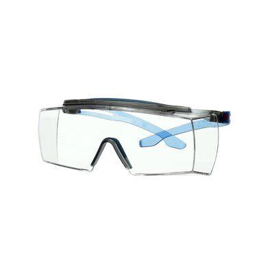 3M™ SecureFit™ 3700 Überbrille, blaues Gestell, integrierter Augenbrauenschutz, Scotchgard™ Antibeschlag-/Antikratz-Beschichtung (K&N), klare Scheibe, SF3701XSGAF-BLU