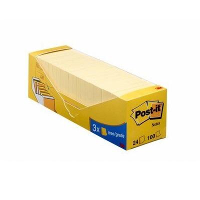 Post-it® Notes  654-Y24, 76 x 76 mm, gelb, 21 Blöcke à 100 Blatt