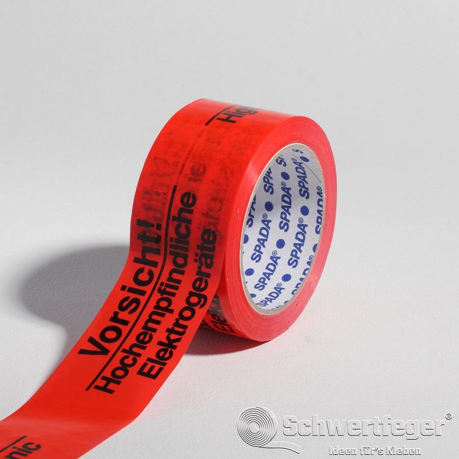 """SPADA® PVC Packband """"Vorsicht Hochempfindliche Elektrogeräte"""" 50 mm x 66 m"""