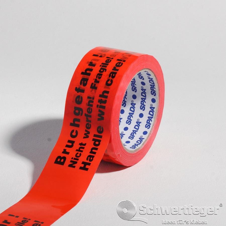 SPADA® PVC Packband 2-sprachig Bruchgefahr Nicht werfen 50 mm x 66 m