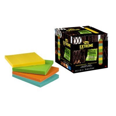 Post-it® Extreme Notes, 76 x 76 mm, 12er Pack, grün, gelb, orange, türkis