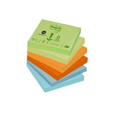 Post-it® Recycling Notes 654-1RP, 12 Blöcke à 100 Blatt, verschiedene Farben, 76 x 76 mm, Blauer Engel