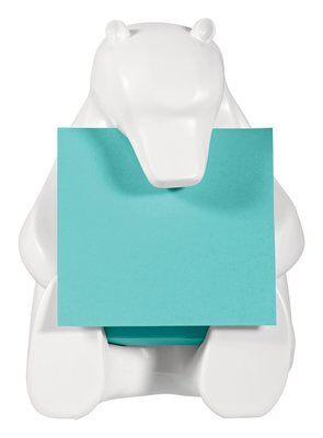 """Post-it® Super Sticky Z-Notes Spender BEAR-330 1 Z-Notes Spender in Eisbär-Form, weiß inkl. 1 Block Post-it® Super Sticky Z-Notes á 90 Blatt, türkis, 76 x 76 mm, PEFC zertifiziert"""