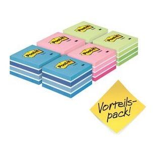 Post-it® Würfel  2028X6, 76 x 76 mm, Pastell-Blautöne, Pastell-Grüntöne, Pastell-Pinktöne, 6 Würfel à 450 Blatt