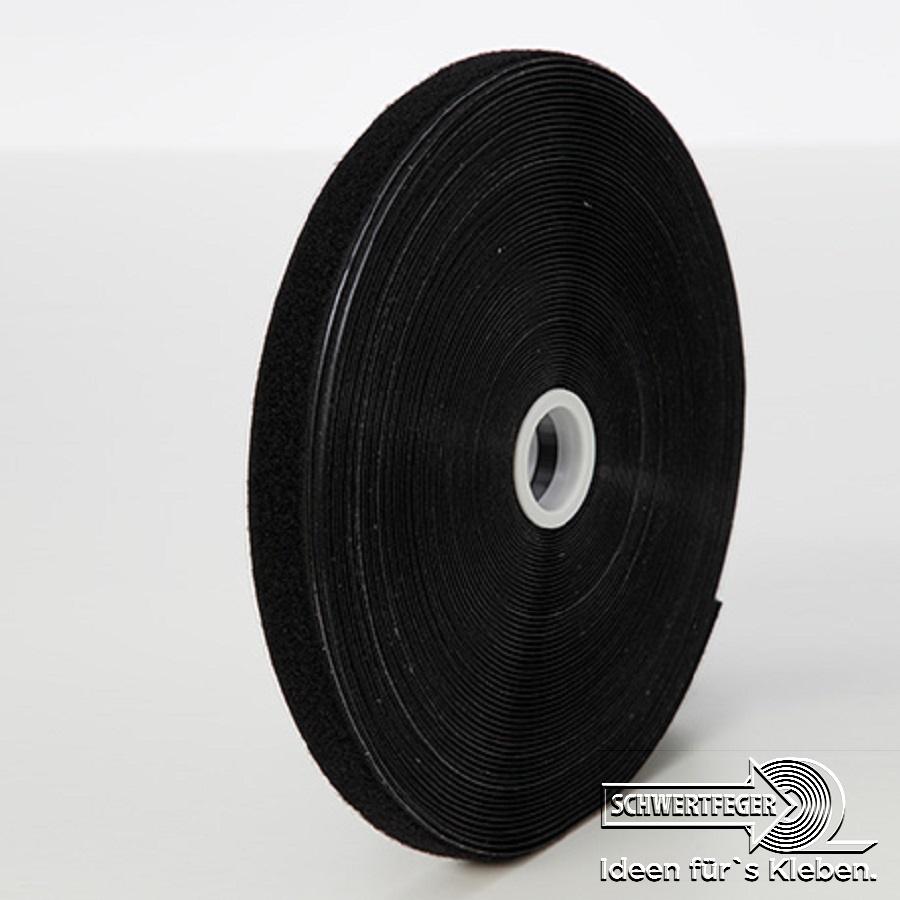SPADA-Tec Flauschband selbstklebend Acrylatkleber schwarz 20 mm x 25 m