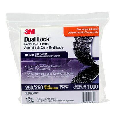 3M™ Dual Lock™ TB3560, Transluzent, 25 mm x 3 m, 5.7 mm, 40 Köpfe/cm2, Aussenbreich