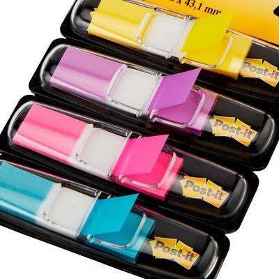 Post-it® Index Mini 683-4AB, 11,9 x 43,2 mm, gelb, lila, pink, türkis, 4 x 35 Haftstreifen im Spender
