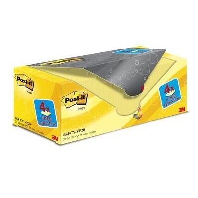 Post-it® Notes  654Y-20, 76 x 76 mm, gelb, 20 Blöcke à 100 Blatt