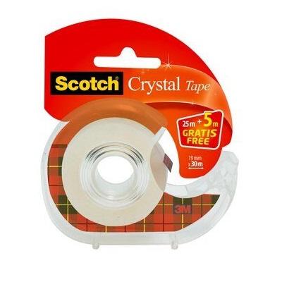 Scotch® Crystal Klebeband 1 Rolle 19 mm x 25 m + 5 m GRATIS + Handabroller