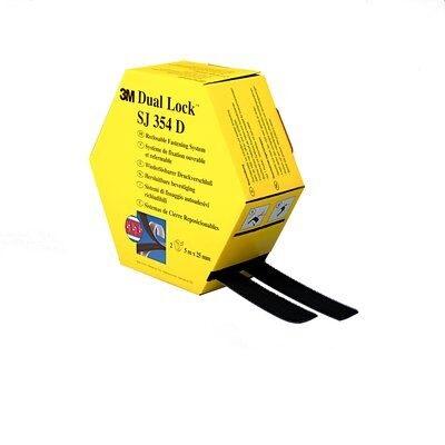 3M™ Dual Lock™ SJ354D, Schwarz, 2 x 25 mm x 5 m, 5.7 mm, 40 Köpfe/cm2, Spendebox