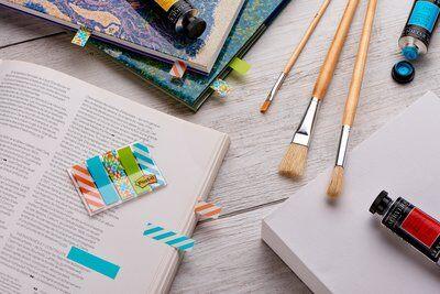 Post-it® Index Mini 684-GEO5, 5 x 20 durchgefärbte Haftstreifen im Etui, Geo Collection, 11,9 x 43,2 mm