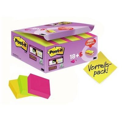 Post-it® Super Sticky Notes Promotion 622P24SC, 24 Blöcke à 90 Blatt im Karton zum Vorteilspreis, ultrapink, -gelb, neongrün, 48 x 48 mm, nicht einzeln cellophaniert, PEFC zertifiziert