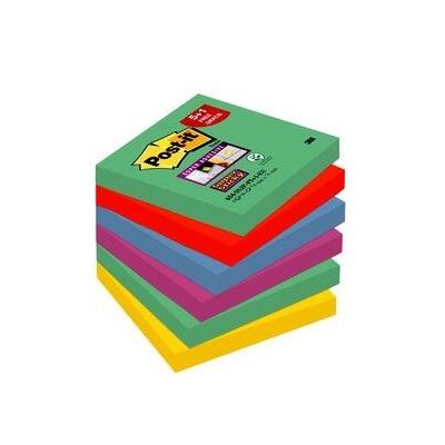Post-it® Super Sticky Notes Promotion 654SM5+1, 6 Blöcke à 90 Blatt zum Vorteilspreis, Marrakesh Collection: lindgrün, ultrarot, -gelb, pflaumenlila, 76 x 76 mm, PEFC zertifiziert