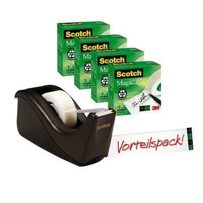 Scotch® Tischabroller Promotion C60-BK4, Schwarzer Tischabroller inkl. 4 Rollen Scotch® Magic™ Klebeband, 19 mm x 33 m
