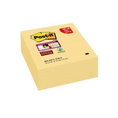 Post-it® Super Sticky Notes  654S18+6, 76 x 76 mm, gelb, 24 Blöcke à 90 Blatt